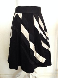 Coast Pleated Bold Stripe Striped Swing Dressy Skirt black and white