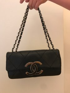 7bff9e01bf85 Chanel Classic Small 2-chain Flap with Large Cc Logo Clasp Black Lambskin  Leather Shoulder Bag