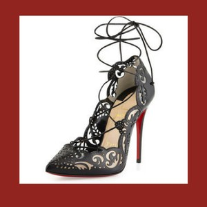 Christian Louboutin Lace-up Cutaway Sexy Stilettos Ankle Ties Black Pumps