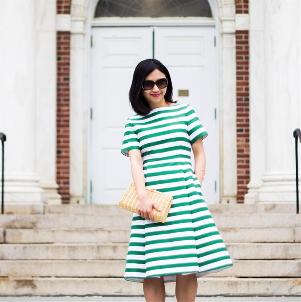 Kate Spade Green and White Yarn Dyed Striped Fit Flare Runway Short ...
