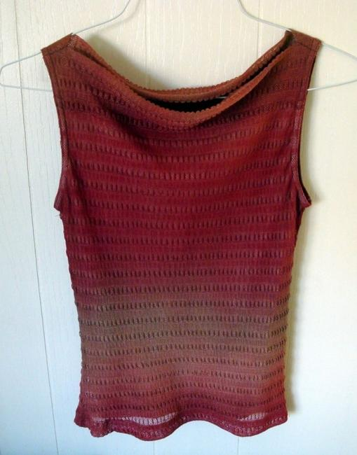 Item - Gradient Reddish Brown/Beige Draped Neckline Sleeveless Lined Tank Top/Cami Size 4 (S)