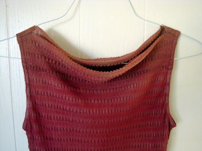 Wrapper Draped Neckline Sleeveless Lined Top Gradient reddish brown/beige