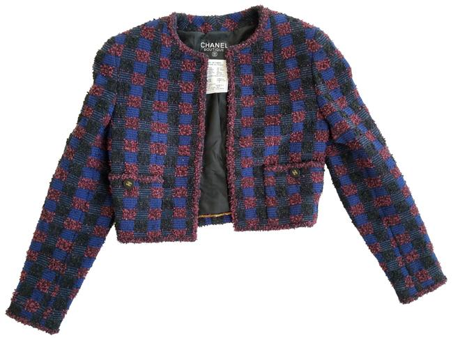 Item - Black Blue and Burgundy Checkered Boucle Cropped Jacket Size 4 (S)