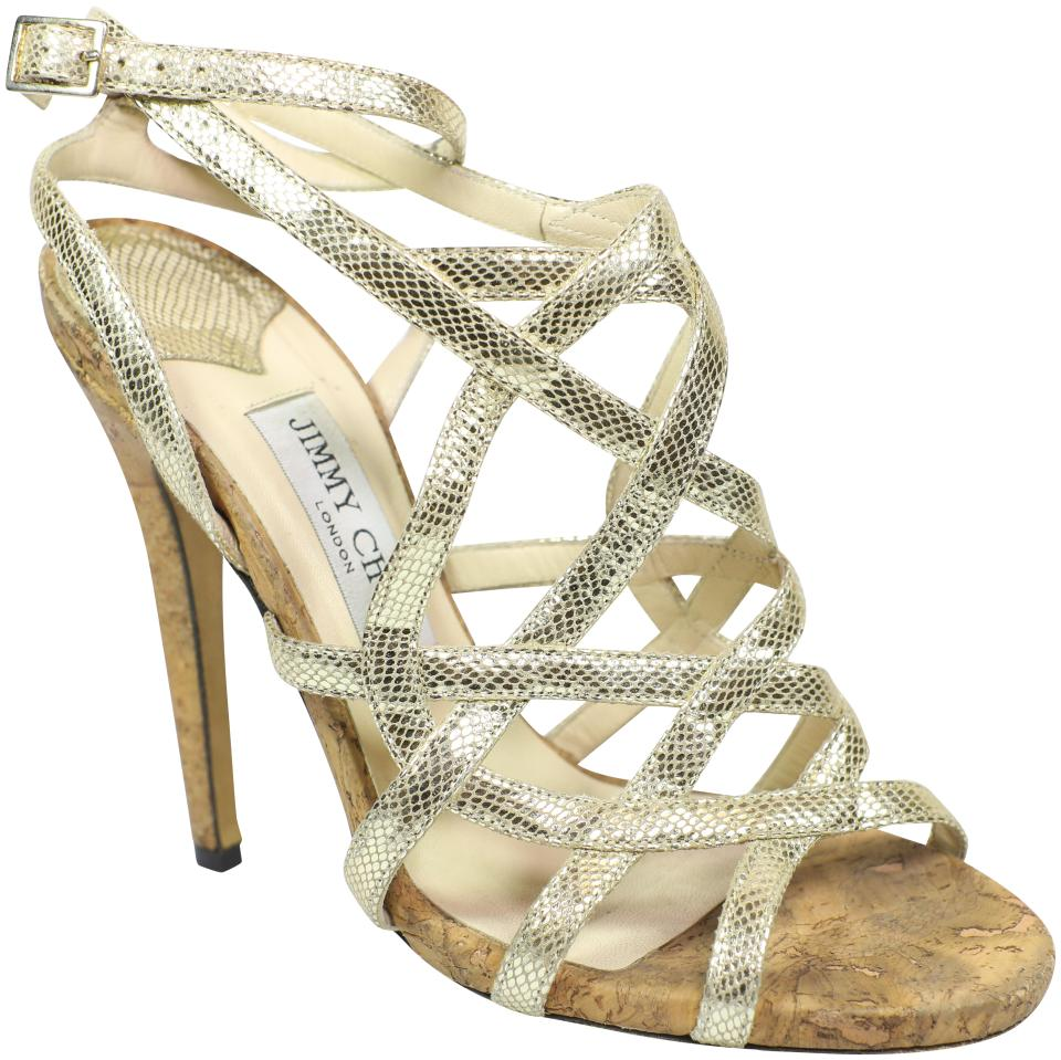 e142dd945ab Jimmy Choo Gold Strappy Caged Cork Sandals Size US 8 Regular (M