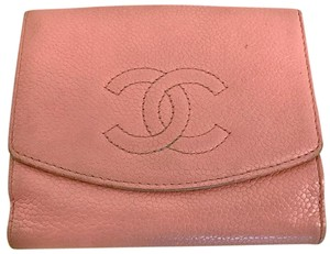 """Chanel CHANEL 4.5"""" inch Pink Caviar Compact Wallet with Coin Purse"""