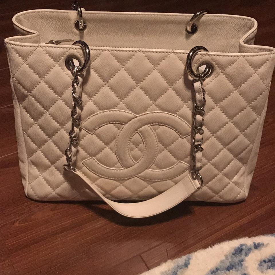 d70328d7a0a40d Chanel Gst Cream Leather Tote - Tradesy
