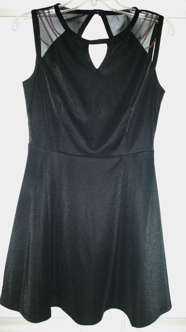 Other Chain Mesh Cut-out Skater A-line Dress