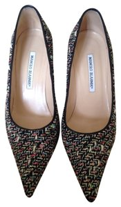Manolo Blahnik Black And Multi Color Pumps