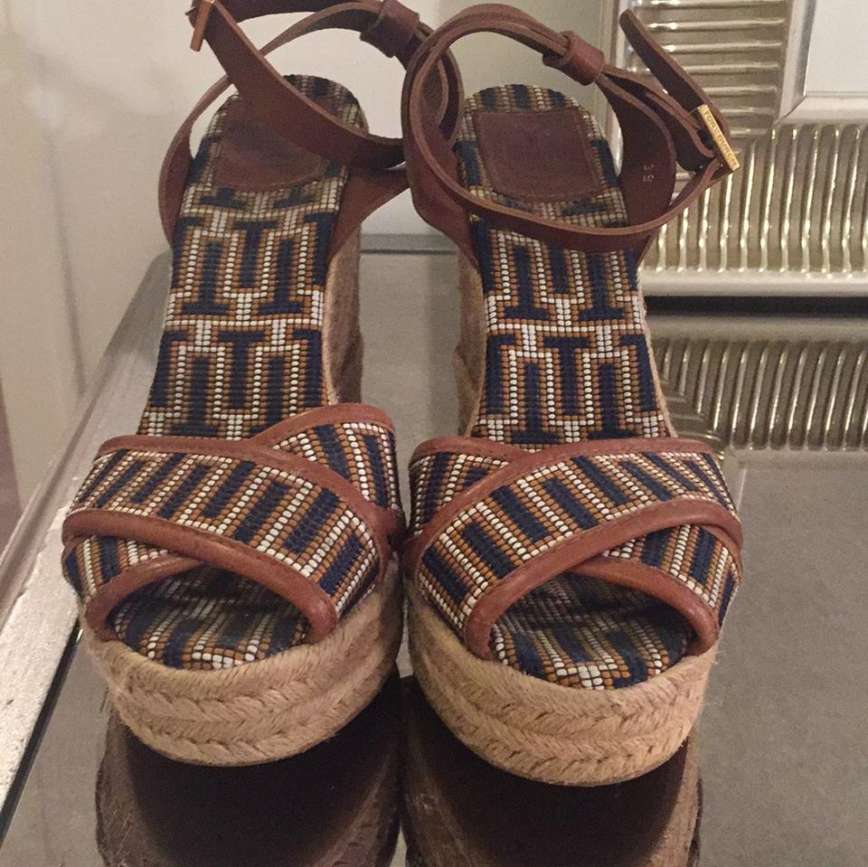 Tory Burch Espadrille Navy and Brown 5'' Espadrille Burch Sandal Wedges 412512