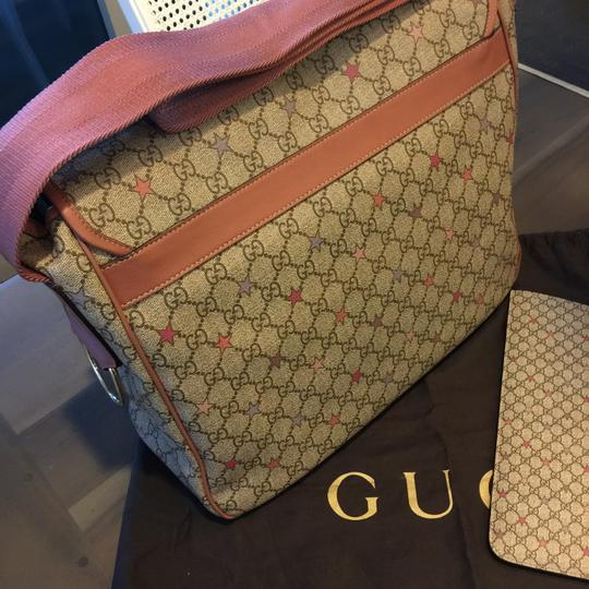 d35f7625882b54 Gucci Diaper Bag Pink Trim. Gucci 510340 Supreme with Changing Pad Brown/Pink  Leather Trim Gg Canvas ...