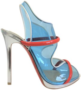 Christian Louboutin Pumps Pigalle Slingback Red Blue Sandals
