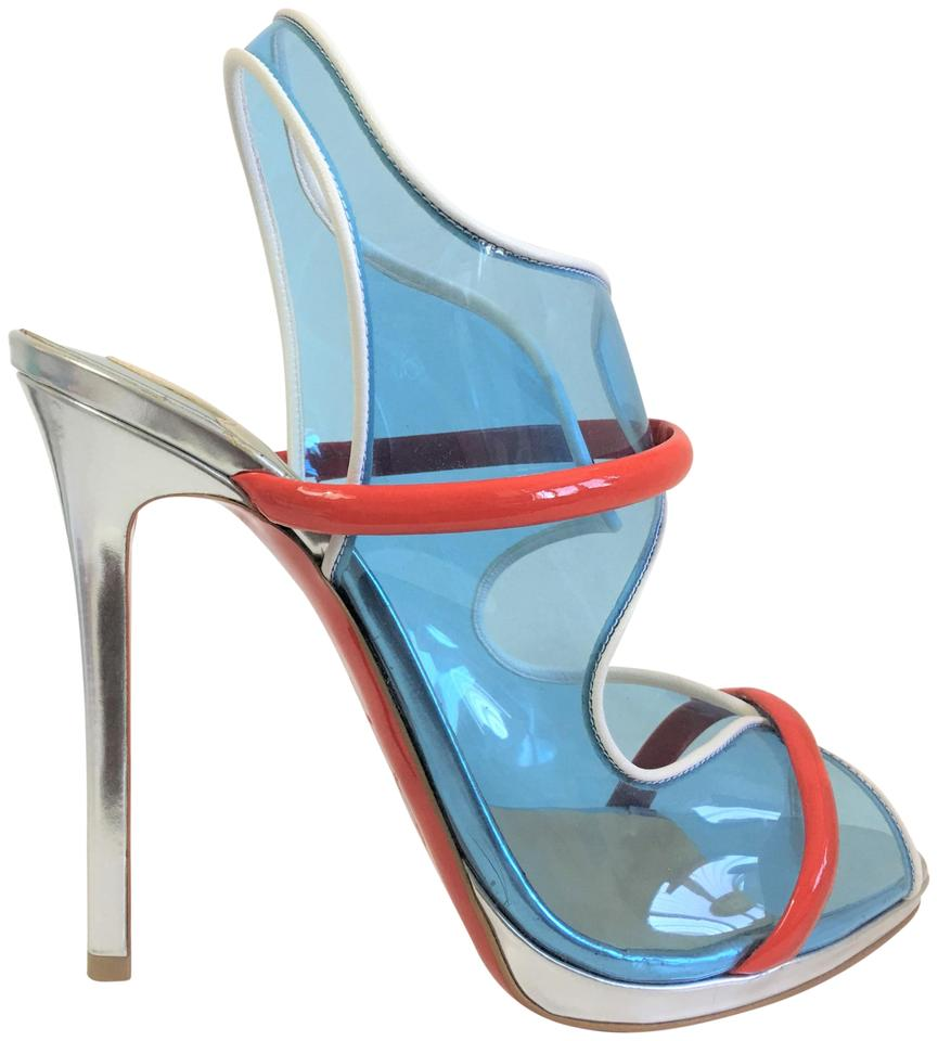 0bdf0361dcfb Christian Louboutin Pumps Pigalle Slingback Red Blue Sandals Image 0 ...