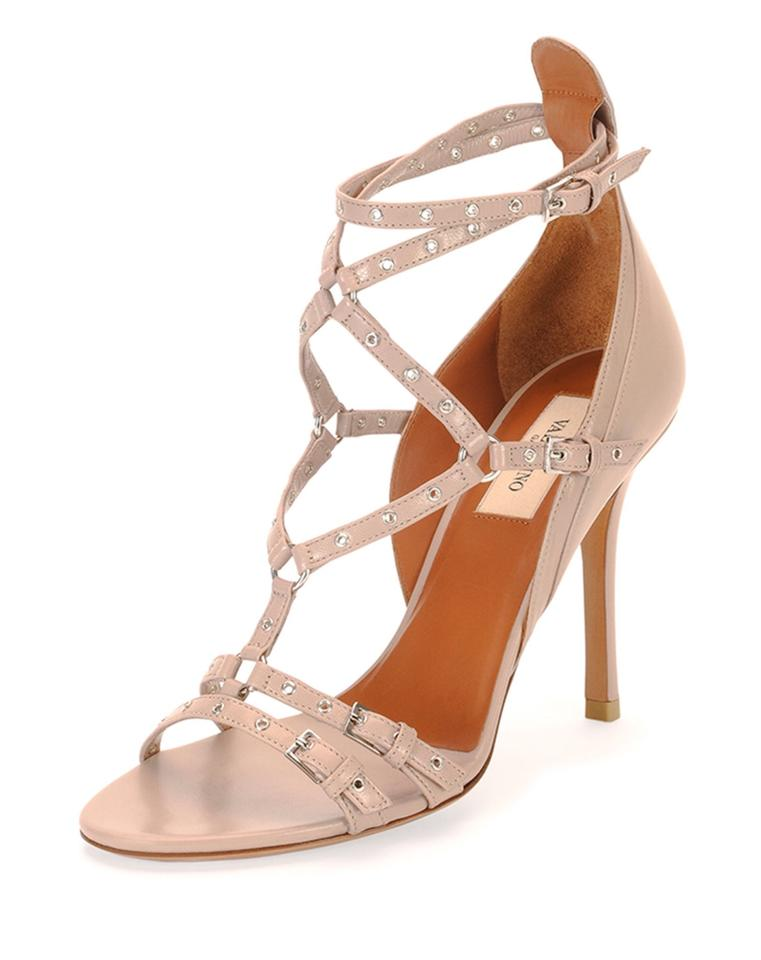 Valentino Nude Love Latch Leather Strappy Grommet Leather Latch Sandals b6372d