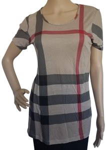 Burberry Nova Check Plaid Logo House Check Monogram T Shirt Beige, Multicolor, Red
