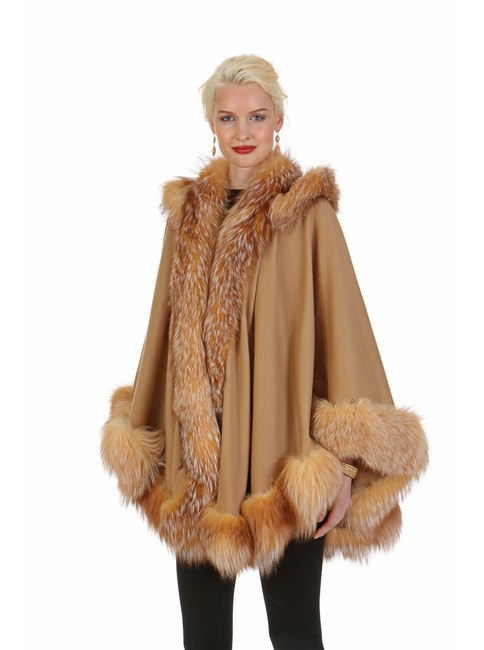 Item - Camel Hooded Crystal Fox Trimmed Cashmere Poncho/Cape Size OS (one size)
