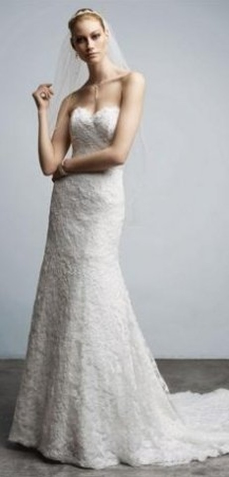 Monique Luo Ivory Lace And Crl5378 Y Wedding Dress Size 12 L