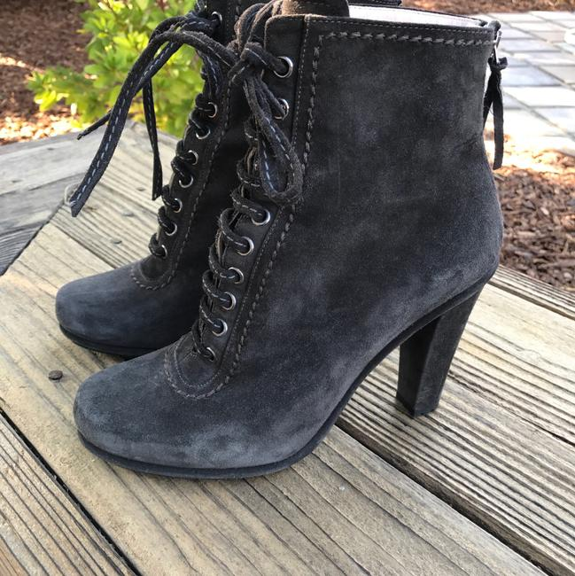 Item - Gray Black Lace Up Ankle Suede Boots/Booties Size EU 38 (Approx. US 8) Regular (M, B)