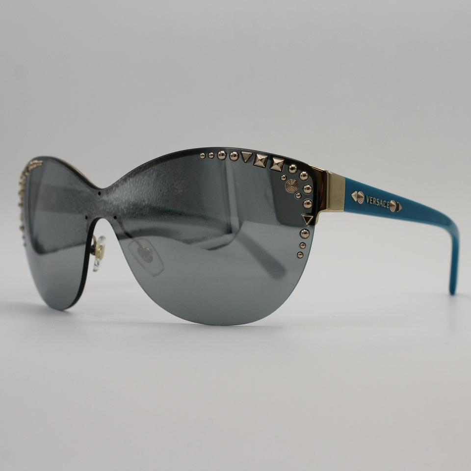 b3e246e6bfb69 Versace Classic Blue Gold Mirror Sunglasses With Studded Accent 2152  1252 6j Image 7. 12345678