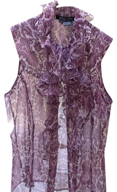 Preload https://item3.tradesy.com/images/etcetera-top-white-and-purple-2201102-0-0.jpg?width=400&height=650