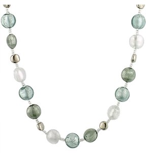 Antica Murrina Antica Murrina Frida Necklace Grey White Silver Crystal Necklace