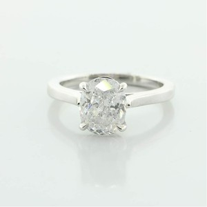 White 2.01 Cts Oval Solitaire Set In 14k Gold Engagement Ring