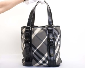 Burberry Haymarket Nylon Patent Leather Check Pattern Shoulder Bag