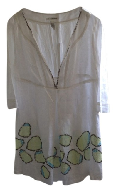 Item - White with Green and Teal Kaftan Cover-up/Sarong Size 8 (M)