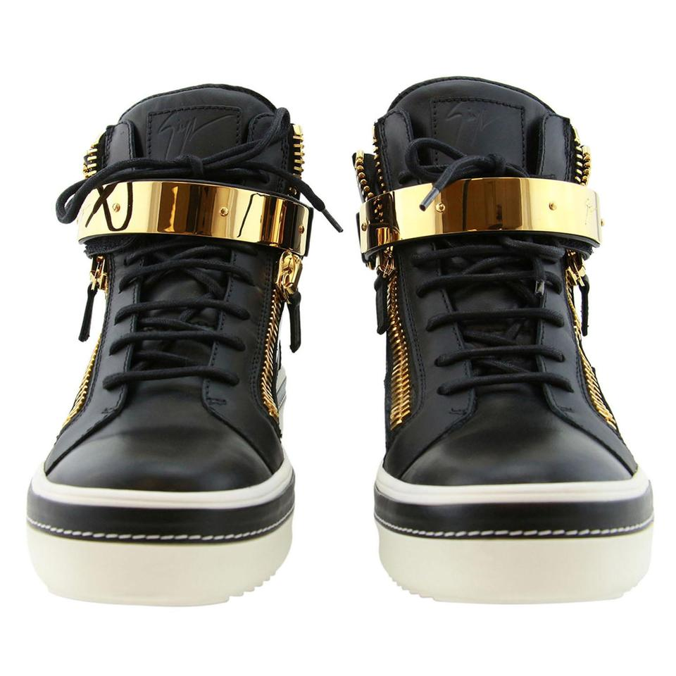 9bf30f275b3d2 Giuseppe Zanotti Black New Men Eu 44 Leather & Golden Bar High-top Luxury Sneakers  Sneakers