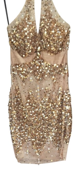 Preload https://img-static.tradesy.com/item/2201217/gold-and-nude-cocktail-dress-size-0-xs-0-0-650-650.jpg