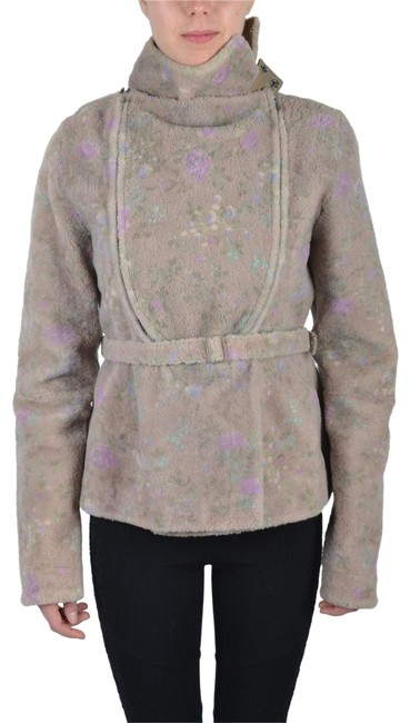 Item - Multi-color Women's Leather Shearling Belted Jacket Size 4 (S)