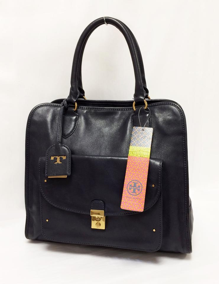 Tory Burch Priscilla Leather Medium Tote In Navy Blue