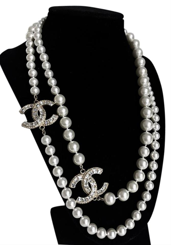 chanel pearl crystal cc long gold necklace tradesy. Black Bedroom Furniture Sets. Home Design Ideas