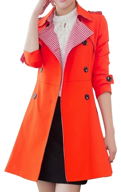 Item - Red England Double Button Lapel Women's Trench Coat Size 12 (L)