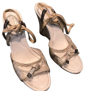 Tod's Silver/White Wedges