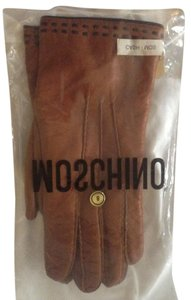 Moschino Rust with Brown Stripe Leather Moschino Women Gloves Size 8