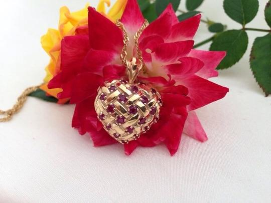 Other 14k Ruby Puffy Heart Pendant Necklace.
