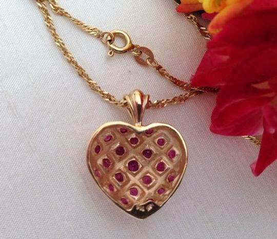 Other 14k Ruby Puffy Heart Pendant Necklace. Image 3