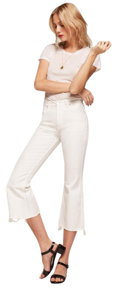 a8782704b6d0e3 Reformation White Light Wash Mid Crop Flare Leg Jeans Size 26 (2, XS ...