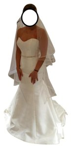Kenneth Winston Ivory Mikado Be 347 Formal Wedding Dress Size 6 (S)