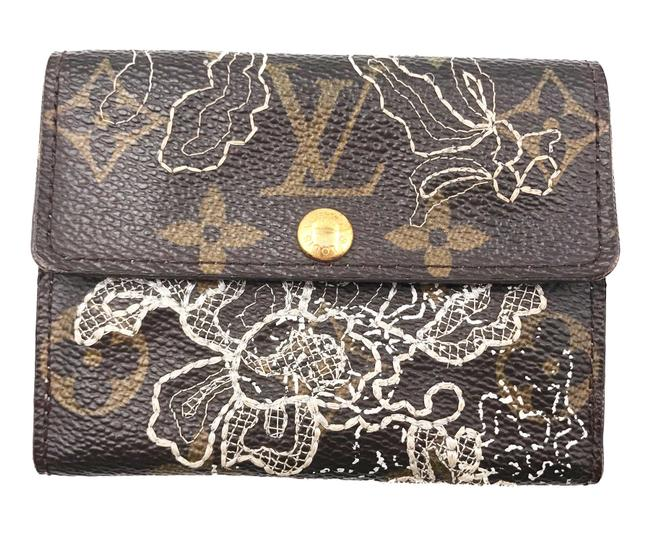 Louis Vuitton Brown Gold Monogram Lace Embroidery Dentelle Coin Wallet Louis Vuitton Brown Gold Monogram Lace Embroidery Dentelle Coin Wallet Image 1