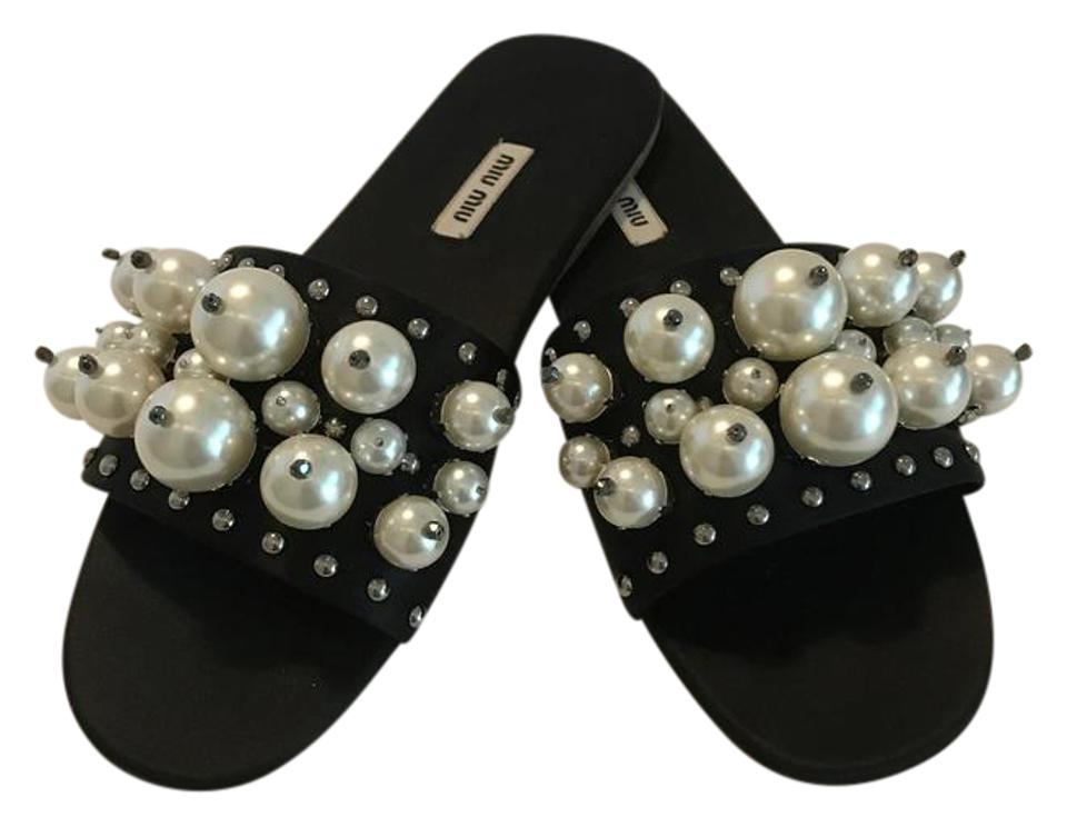 2b0282e176 Miu Miu Black Pearly Embellished Satin Mule Slide Sandals Size EU 39 ...