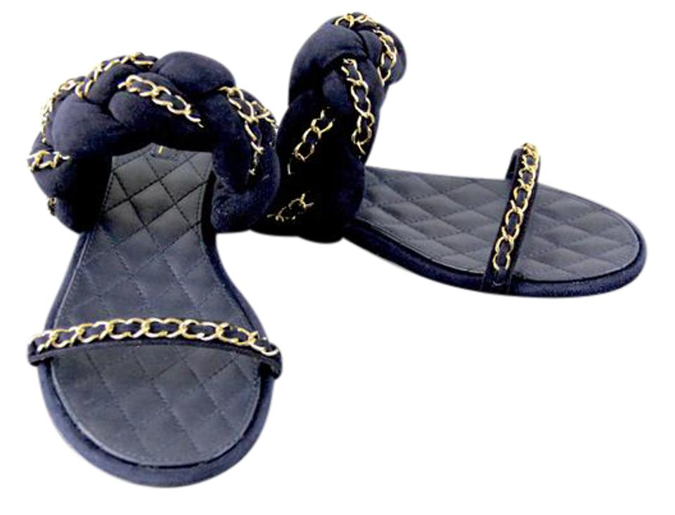 45c49f3b499cd Chanel Navy 2017 Chain Braided Brain Suede Sandals On Mules/Slides ...