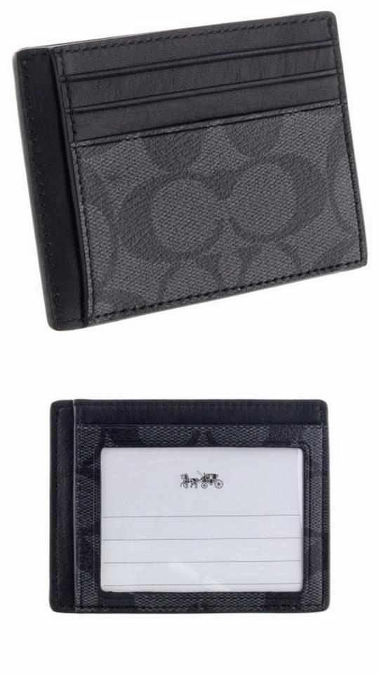 Coach Black New Men\'s Two Side Id Credit Card Business Case Holder ...
