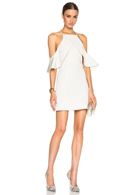 Item - Off White Leather Trimmed Cold Shoulder Ruffled Mid-length Night Out Dress Size 10 (M)
