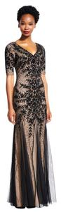 Adrianna Papell Beaded Short Sleeve Gown Formal Embellished Dress
