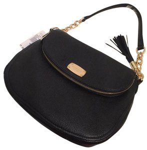 321dd85456b6 Michael Kors Bedford Medium Tassel Convertible Shoulder Black Leather Cross  Body Bag