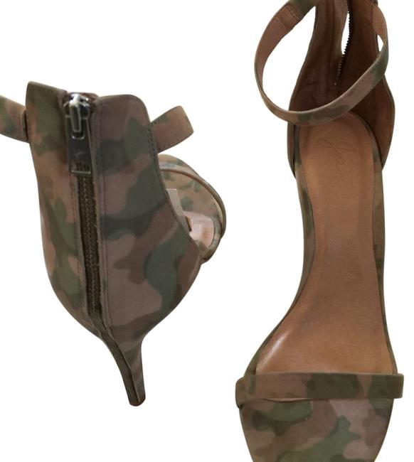 Item - Beige and Green Camo Ankle Strap Nubuck Leather Formal Shoes Size EU 40 (Approx. US 10) Regular (M, B)