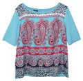 Talbots Satin Knit Paisley Short Sleeve Sweater