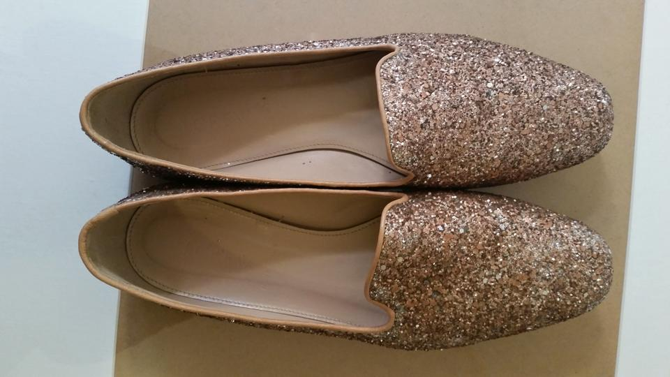 26cf621852c J.Crew Glitter Darby Casual Nude Rose Gold Flats Image 5. 123456
