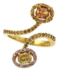 Rafael Estate 1.48ct Fancy Color Diamond 18k Yellow Gold Bypass Ring Size 7